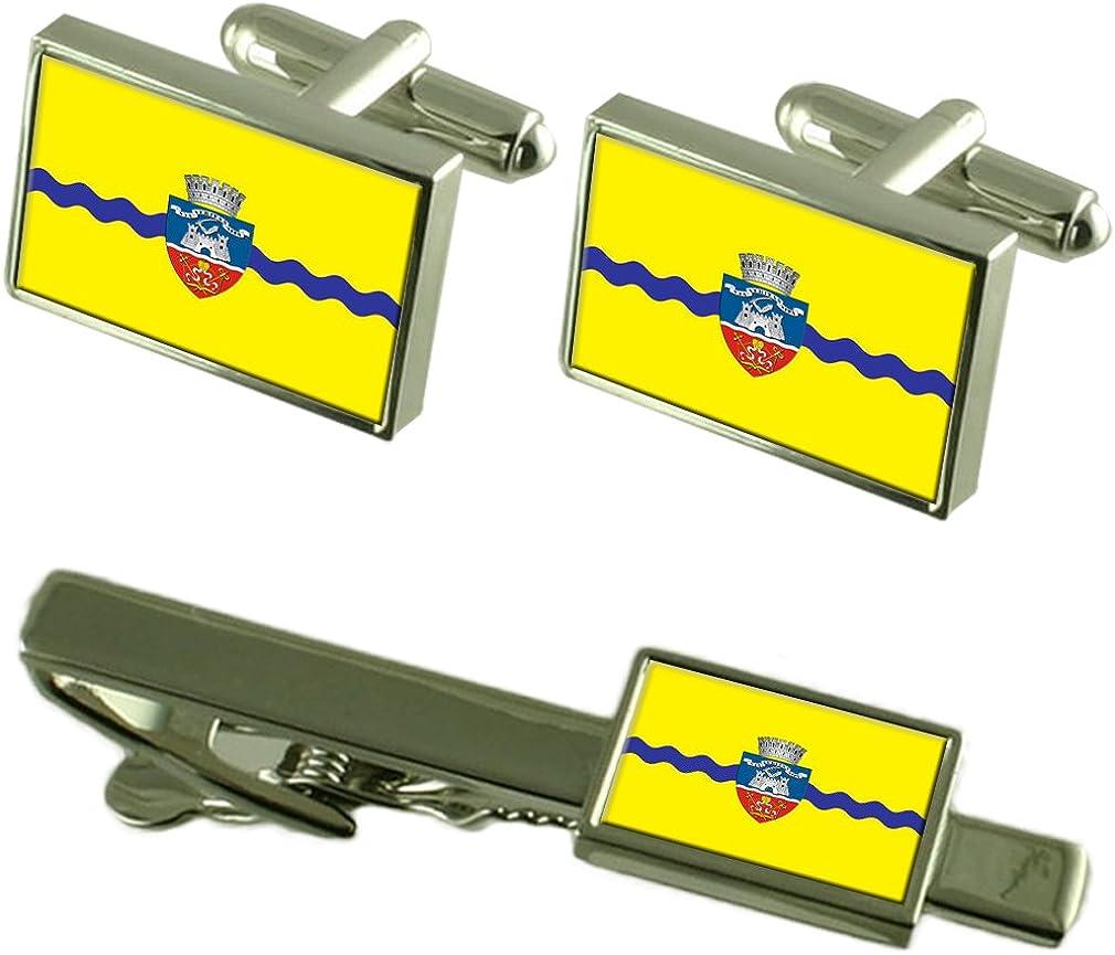 Select Gifts La Ciudad de Arad Rumania Bandera Gemelos Clip de Corbata Box Set de Regalo