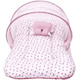 FARETO Cotton Toddler Mattress with Mosquito Net, 0-6 Months (Pink)