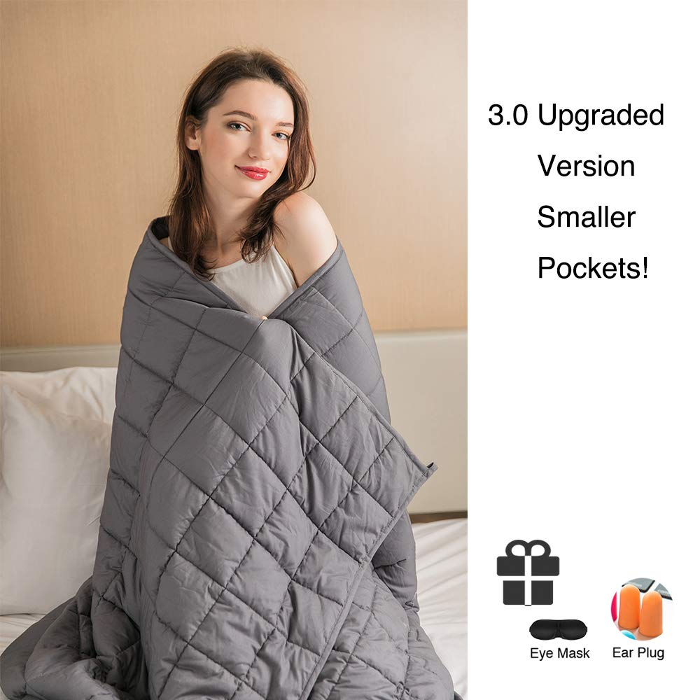 Daverose Promo | Upgraded 3.0 | Cooling Weighted Blanket | Natural Organic Cotton | 4''x4'' Smaller Pockets | Adults Men Women | Full Size (Grey, 48''x72'' - 15lbs)