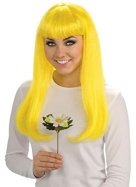 El Carnaval Peluca melena flequillo amarilla