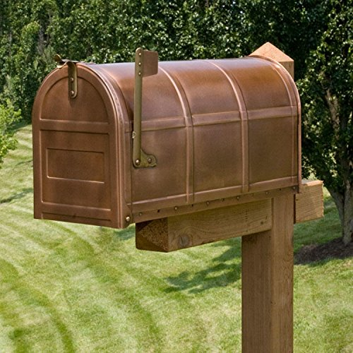 Naiture Oversized Solid Copper Post Mount Mailbox (Mailbox Copper)
