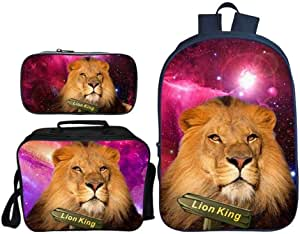 Asdfnfa Backpack Children's Three-Piece Suit 3D Printing Starry Sky Lion King Primary School Bag with Lunch Bag and Pencil Case (Color : 1)