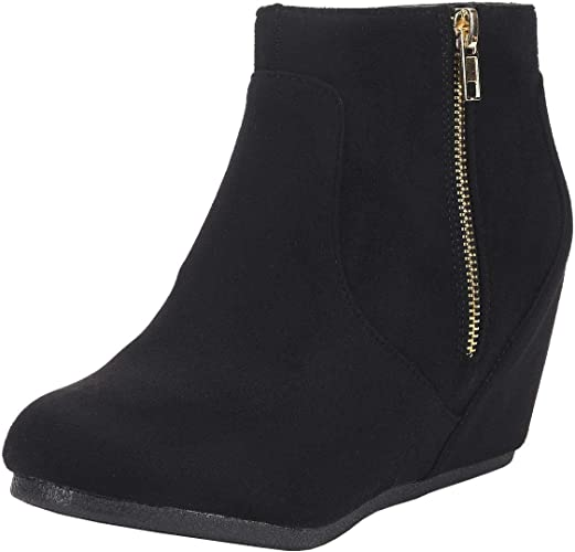 Suede Low Wedge Ankle Boots