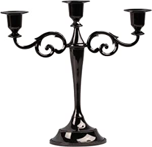 Viscacha 3-Candle Metal Candelabra – Candlesticks Holder for Formal Events, Wedding, Church, Holiday Décor, Halloween – Taper Candle Holder Stand Centerpiece Elegant Decoration Piece for Table,Black