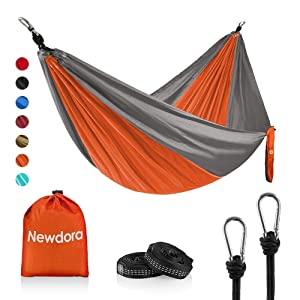 """Newdora Camping Hammock with Tree Straps Portable Lightweight Nylon Hammock, Parachute Double Hammock for Backpacking,Camping,Travel,Beach,Yard.105(L) x 56""""(W)."""