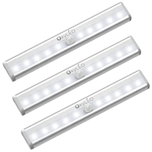 OxyLED Motion Sensor Closet Lights,Cabinet Light,DIY Stick-on Anywhere Portable Wireless 10 LED Wardrobe/Stairs/Step Light Bar,LED Night Light,Safe Lights(3 Pack,Battery Operated)
