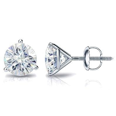 2e6a3fa6e Diamond Wish 18K Gold Round Moissanite Stud Earrings (1.00-7.00 TGW, J-K)  3-Prong Martini Set, Screw-Back