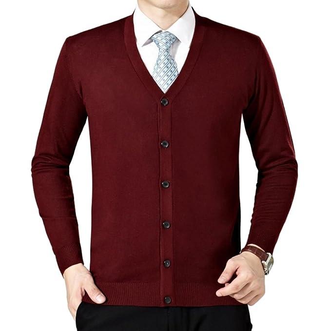venta minorista 3650c 8d6df Ochenta para hombre Casual Slim Fit suave Cardigan Sweater ...