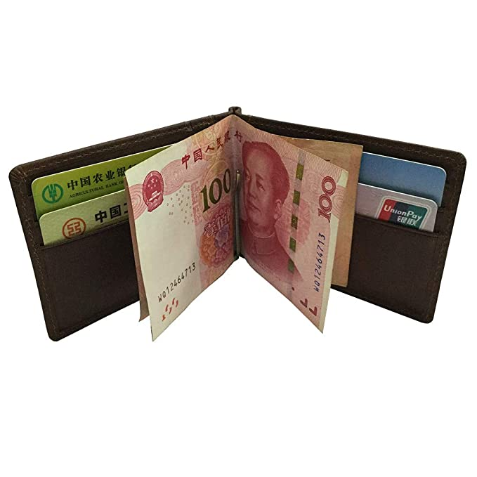 Bifold Front Pocket Leather Wallet Spring Money Clip RFID Blocking
