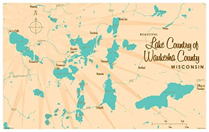 Lake Country Waukesha County Wisconsin Map Vintage-Style Art Print by  Lakebound (12\