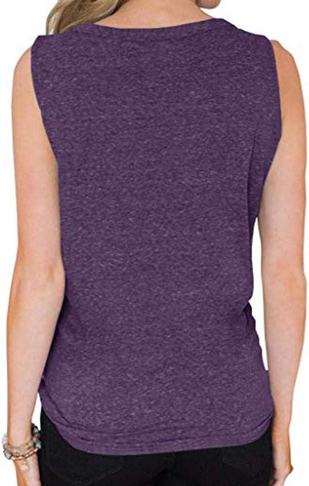 Proumy Chaleco de Algodón Camiseta de Tirantes Mujer Camisola Morada Camisa Larga Blusa Suelta Cuello V Vestido con Botón sin Mangas Ropa Dobladillo Anudado Tank Tops de Talla Grande Traje Verano 2019: