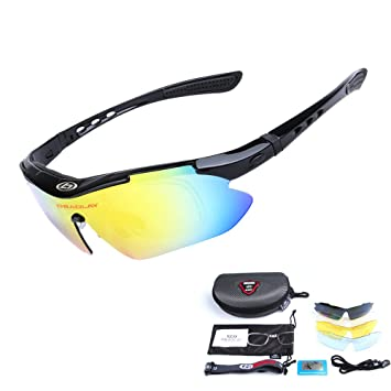 35814ef5a0 OBAOLAY Unisex Polarized Sports Sunglasses with 5 Interchangeable Lenses  Driving Glasses for Cycling Fishing Hiking Golf