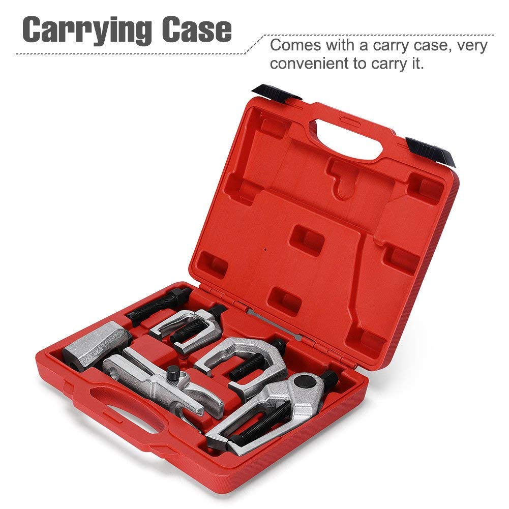 Ball Joint Separator Kit - Pitman Arm Puller Tool - Tie Rod End Remover - Front End Service Set – Outer Tie Rod Removal - 6 Piece by Jecr (Image #9)