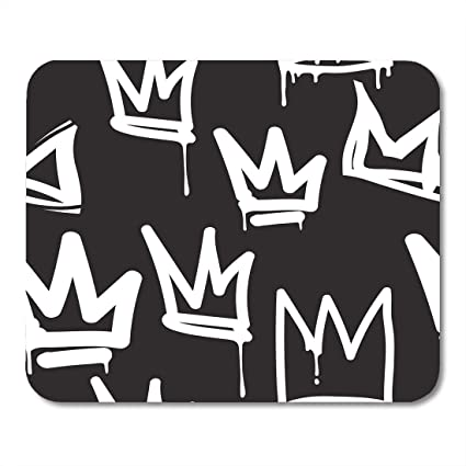 Amazon com : Emvency Mouse Pads Crown Tags Black and White Graffiti