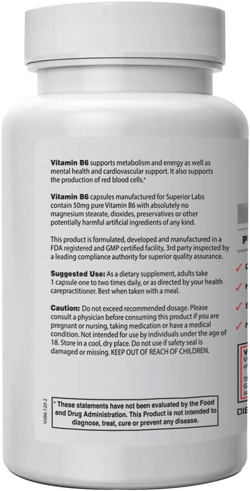 Superior Labs — Best Vitamin B6 Dietary Supplement — 50 mg Dosage ,120 Vegetable Capsules —Supports Immune System Health — Healthy Brain Function — Cardiovascular Health Support: Health & Personal Care