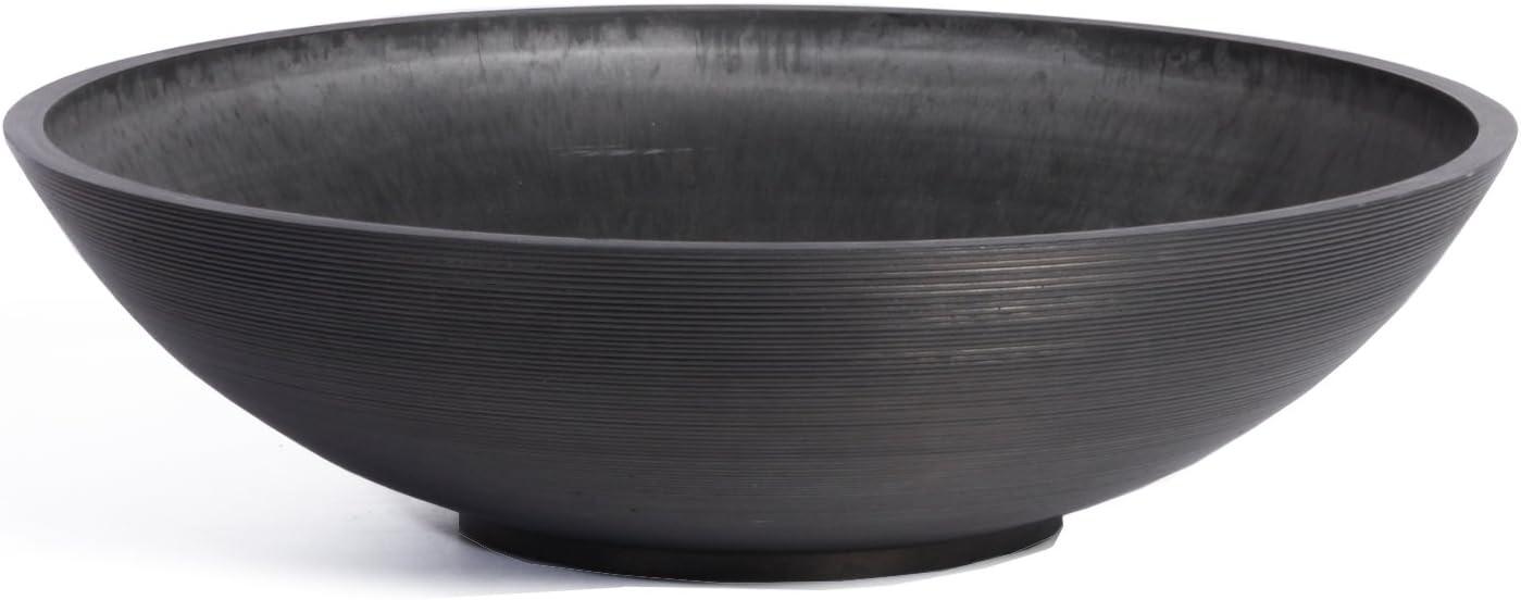 Veradek Lane Round Bowl Planter, 6-Inch Height by 24-Inch Diameter, Black (LBV24B)