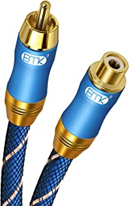 RCA Extension Cable(3ft/1m) EMK RCA Male to Female Cable Gold Plated Copper Shell Heavy Duty Digital Coaxial Audio Cable Subwoofer Cable for Home Theater, HDTV, Amplifiers, Hi-Fi Systems