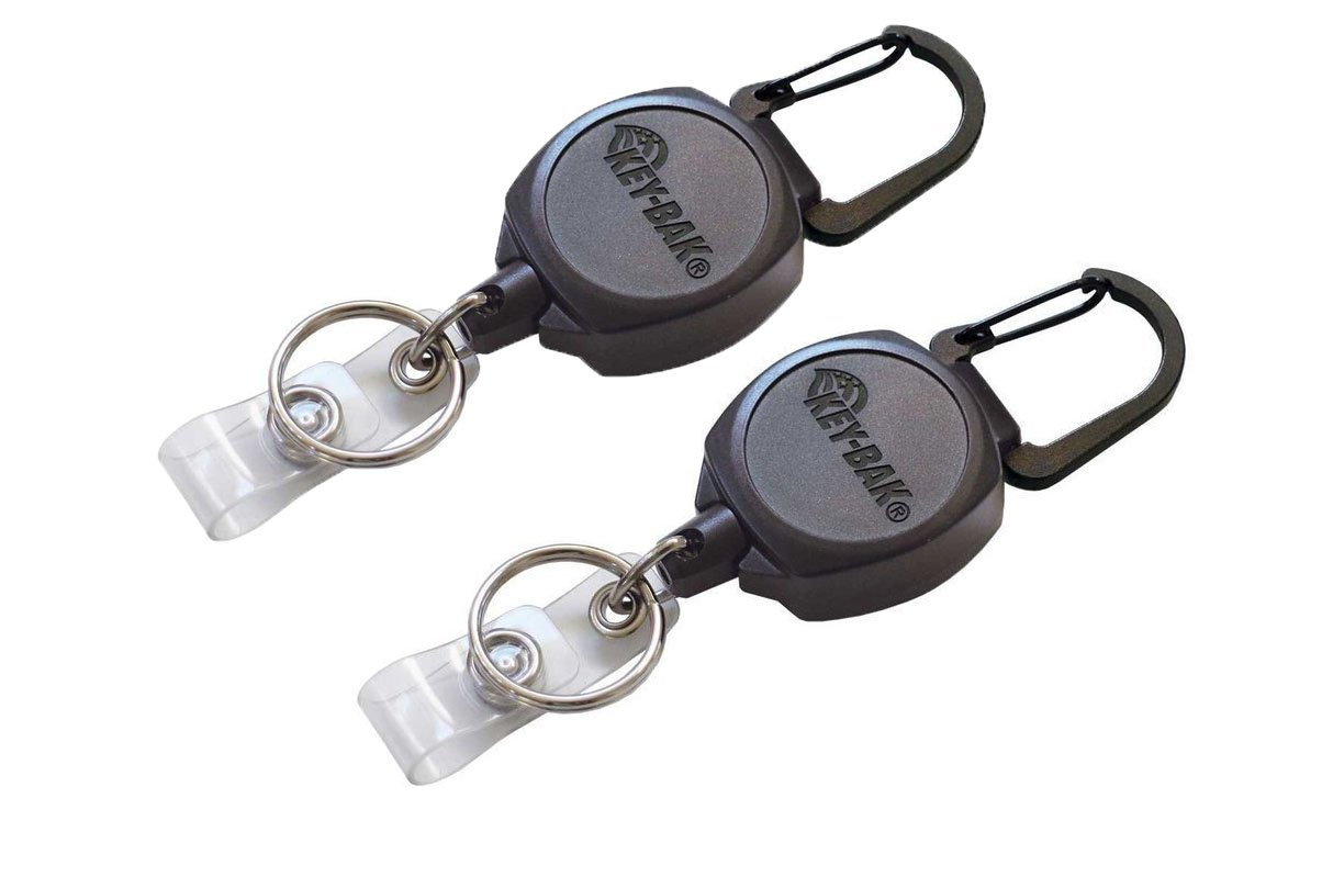 Key-Bak Sidekick Professional Heavy Duty Self Retracting ID Badge / Key Reel with Retractable Kevlar Cord, 24'' Black (2 Pack)