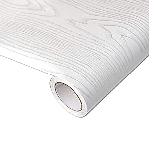 Yenhome Extra Thick Silver White Wood Wallpaper Peel and Stick Bedroom Living Room Wall Decor Self Adhesive Wallpaper Waterproof Shelf Liner for Kitchen Cabinets Countertops Cover 24 x 196 inch