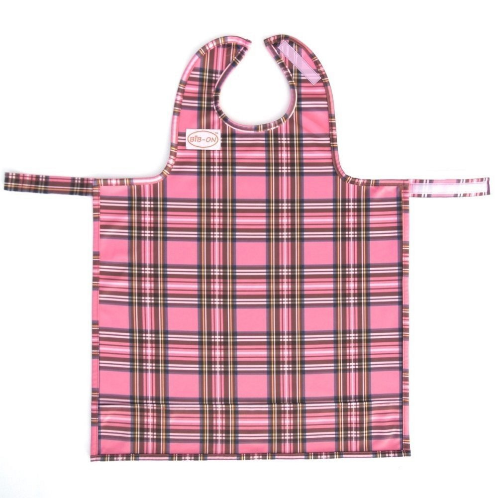 BIB-ON, A New, Full-Coverage Bib and Apron Combination for Infant, Baby, Toddler Ages 0-4+. One Size Fits All! (Pink Plaid)