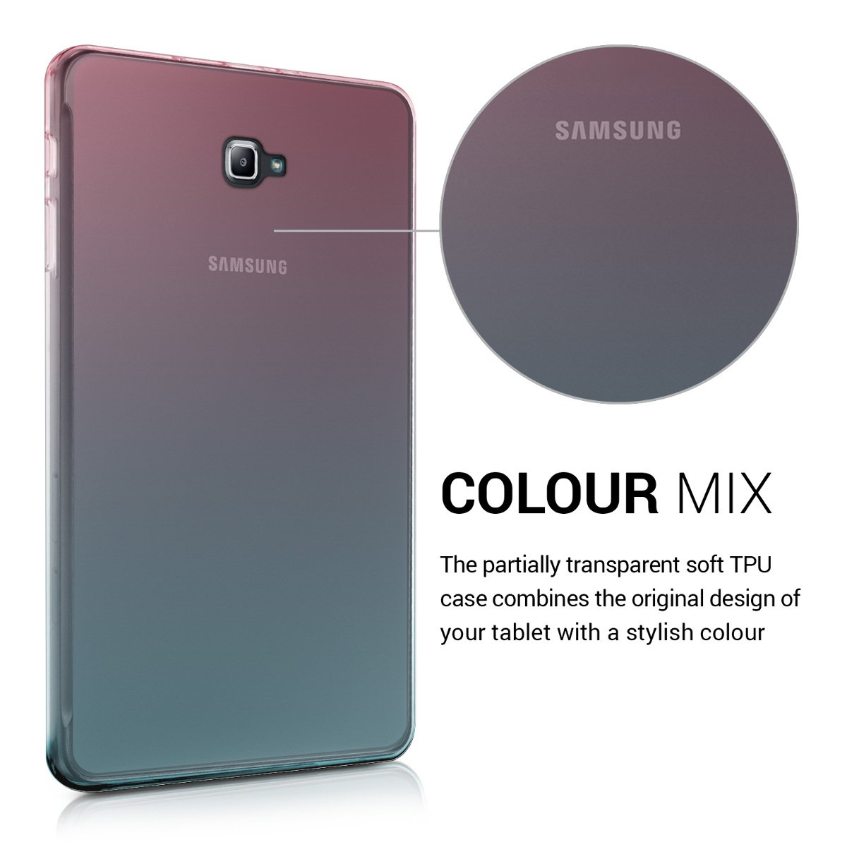 kwmobile Funda compatible con Samsung Galaxy Tab A 10.1 T580N/T585N - Carcasa trasera para tablet de TPU - En rosa fucsia / azul / transparente