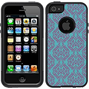 Skin Decal for Otterbox Commuter iPhone 5 Case - Victorian Pattern Plum Purple on Teal