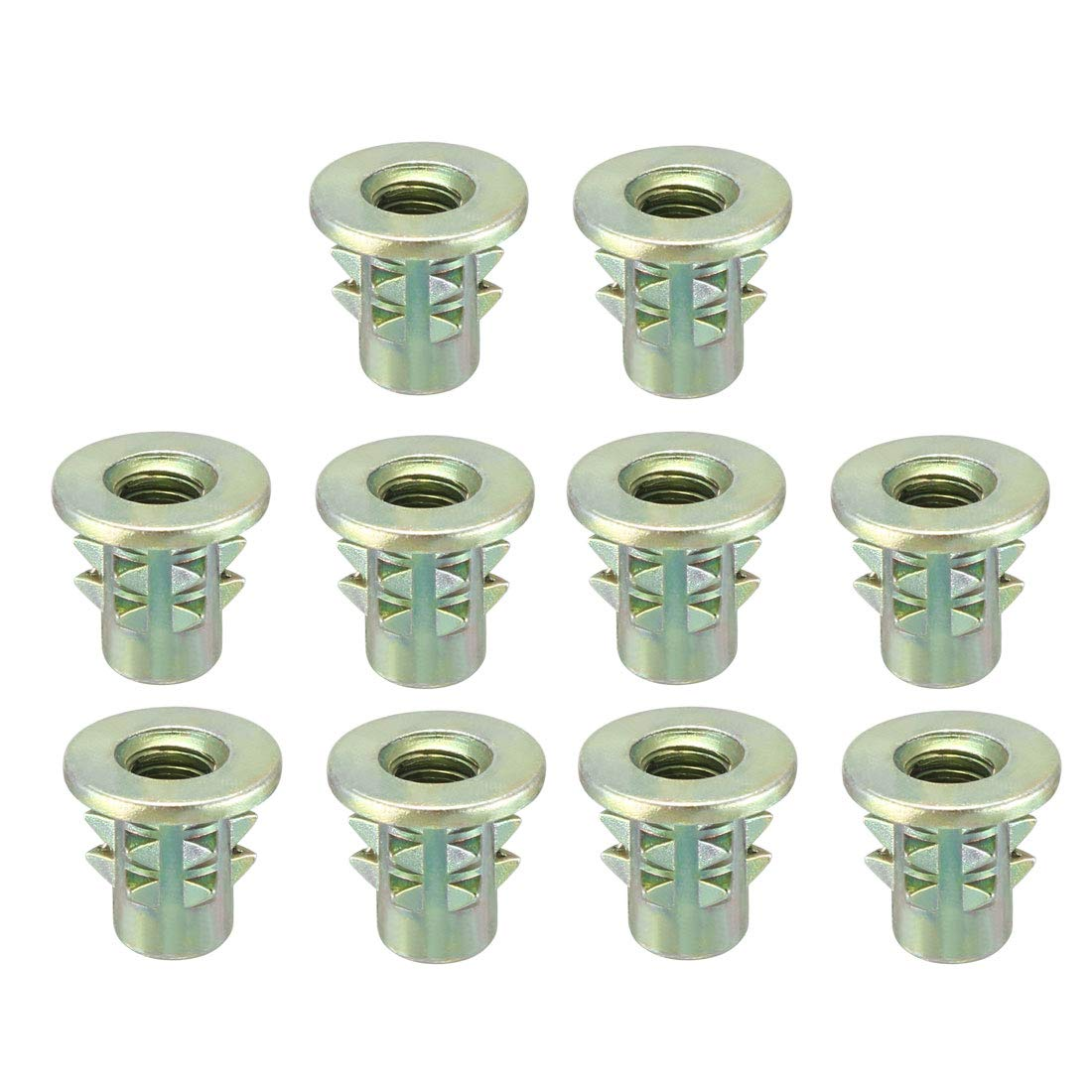 uxcell/® a16042000ux0554 Socket Insert E-Nut M8 x 25Mm Wood Insert Interface Screws Hex Socket Inserts E-Nuts 10 Pcs