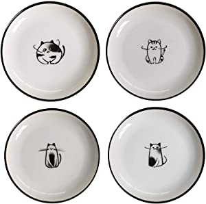 Cat Ceramic Side Sauce Dishes Seasoning Dish, Sushi Soy Dipping dish,Cookie Serving Dishes,Meow Porcelain Small Tea Bag Holder Set of 4 (Cat)
