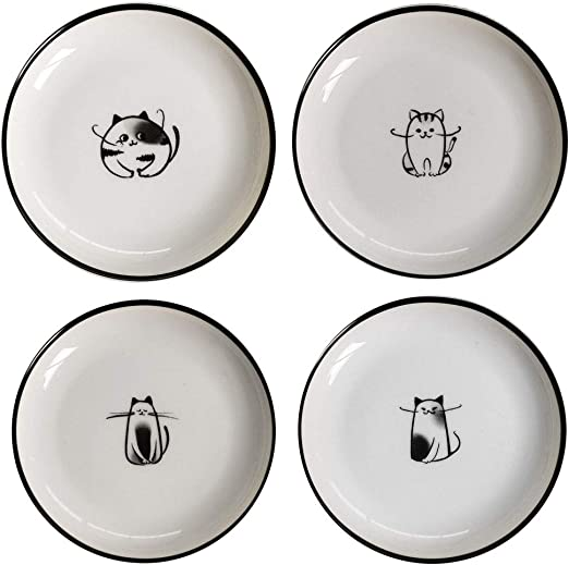 Cute Cat Ceramic Side Sauce Dishes Mini Heart Shape Seasoning Dish Sushi Soy Dipping Bowl,Serving Saucers Dishe,Meow Porcelain Small Tea Bag Holder Set of 6