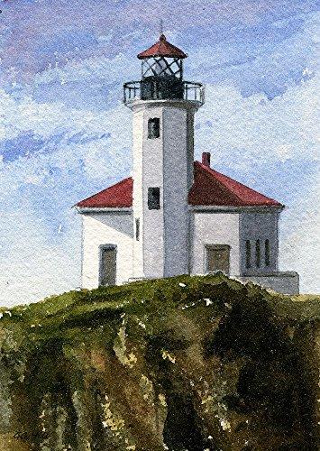 (Cape Arago Lighthouse Vertical, Coos Bay, Oregon Coast. Gerald C. Hill Watercolor Art Prints)