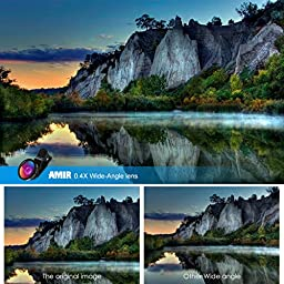 Amir 3 in 1 HD Clip-on Cell Phone Camera Lens Kit, 10x Macro Lens & 0.4x Wide Angle Lens & 180° Fisheye Lens for Samsung Galaxy, Android & Most Smartphones