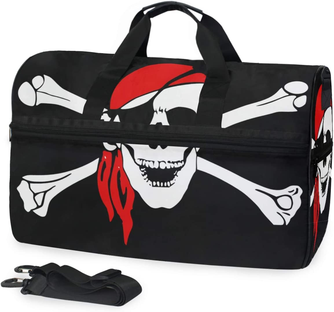 MUOOUM Pirate Skull Flag Large Duffle Bags Sports Gym Bag with Shoes Compartment for Men and Women