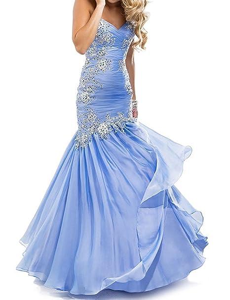 JAEDEN Princesa Sin tirantes Vestidos de baile Largo Gasa Vestido de la tarde Vestido de fiesta: Amazon.es: Ropa y accesorios