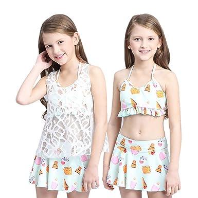 d884b74638f Amazon | ガールズ水着子供女の子水着キッズビキニセパレート3 点セットビーチカバー | 水着 通販