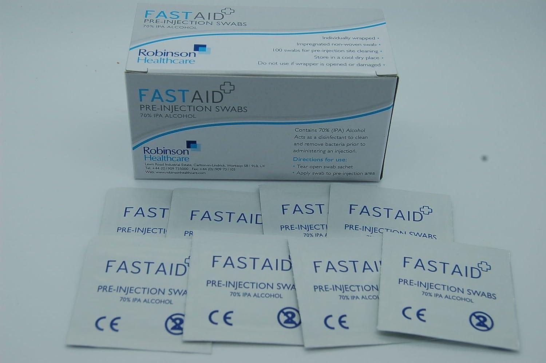 Fastaid 70% IPA Alcohol toallitas para electrónica, Hisopos, tatuaje, pre-inyección isopos, 50 piezas: Amazon.es: Electrónica