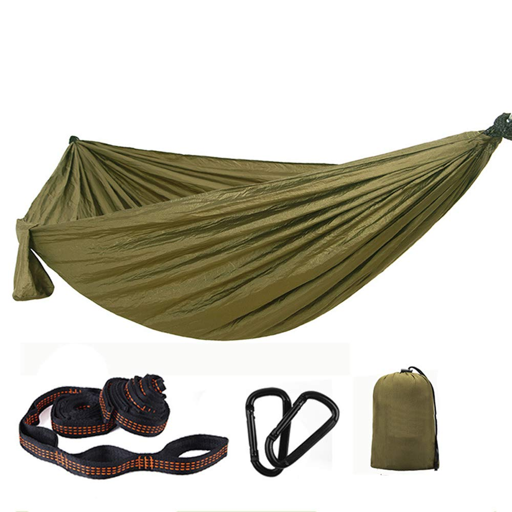 Oufiyap Double Swing Hammock Parachute Cloth Portable Mosquito Net Dormitory Easy to Install (Army Green) by Oufiyap