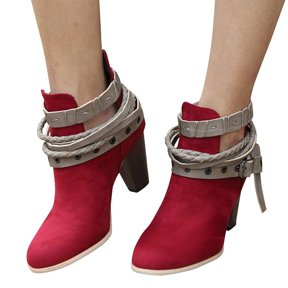 Boots For Women, Clearance Sale !! Farjing Ankle Short Booties Leather Knight Martin Boots (US:7.5,Red)