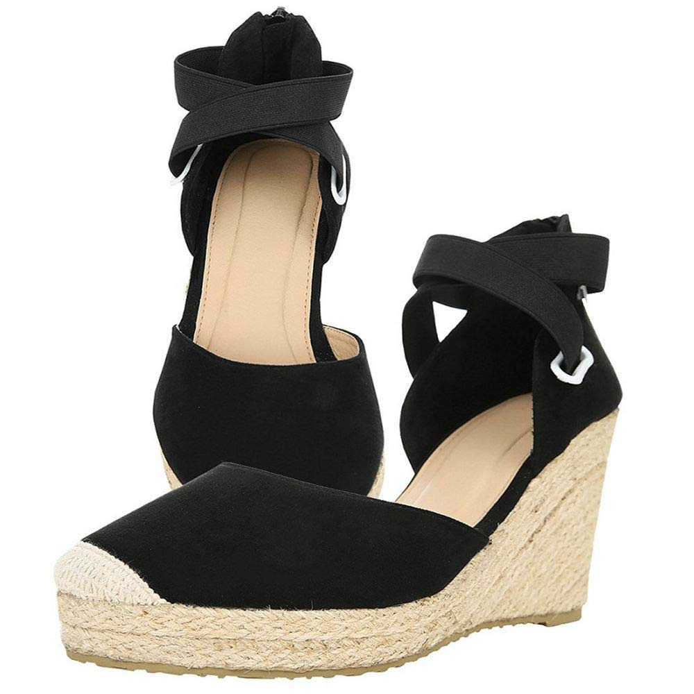 df36c7df3dc2 Amazon.com  PiePieBuy Womens Espadrille Wedges Ankle Strap Closed Toe  Heeled Sandals  Clothing