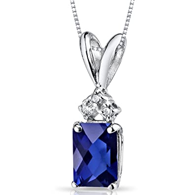 613bfb78ede Image Unavailable. Image not available for. Color: 14 Karat White Gold  Radiant Cut 1.25 Carats Created Blue Sapphire Diamond Pendant