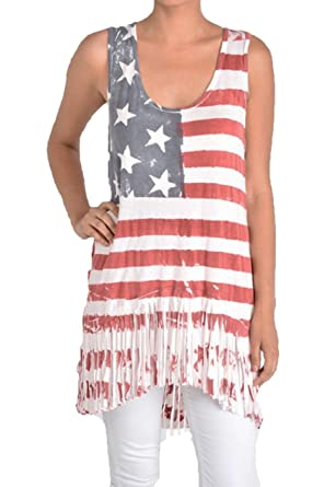 T-Party Plus Size Vintage Wash Red White Blue Fringed ...