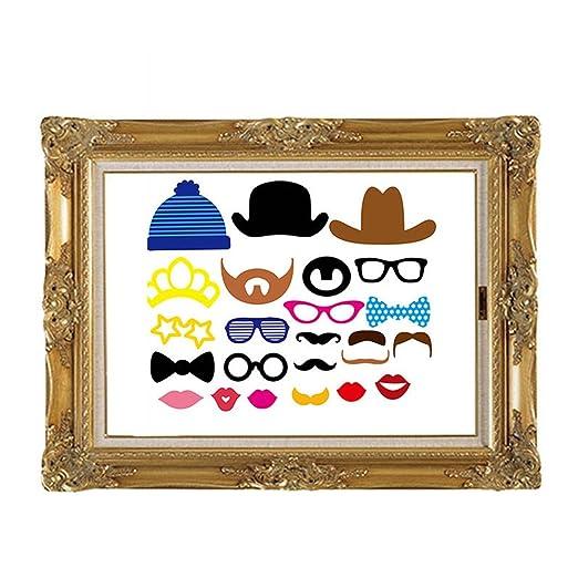 Gudotra 73pcs Photobooth Accesorios para Bigotes Labios Corbatas Gafas Sombreros para Partido Boda Cumpleaos Graduación Mascarada Navidad