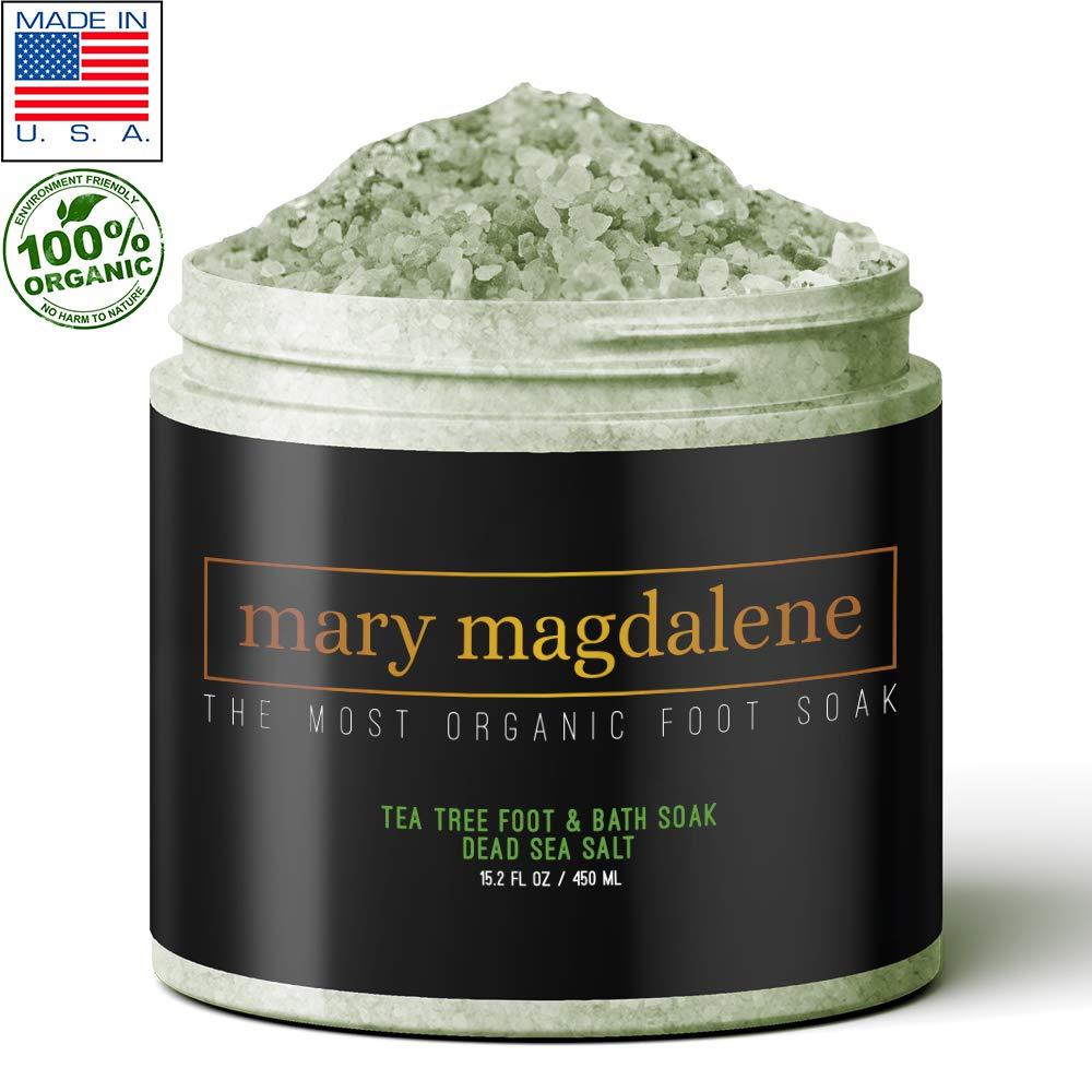 TEA TREE, MINT & Dead Sea Salt. Premium Quality Natural Foot & Bath Soak. 15.2 fl. oz / 450 ml by Mary Magdalene Skin Care
