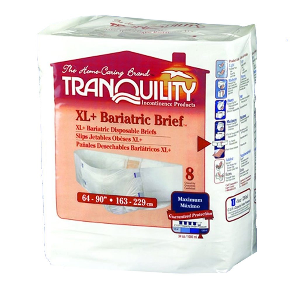Amazon.com: Tranquility Adult Diaper Bariatric Briefs 3XL-Large/XL+ (Pack of 8): Health & Personal Care