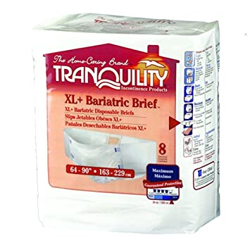 Tranquility Adult Diaper Bariatric Briefs 3XL-Large/XL+ (Pack of 8)