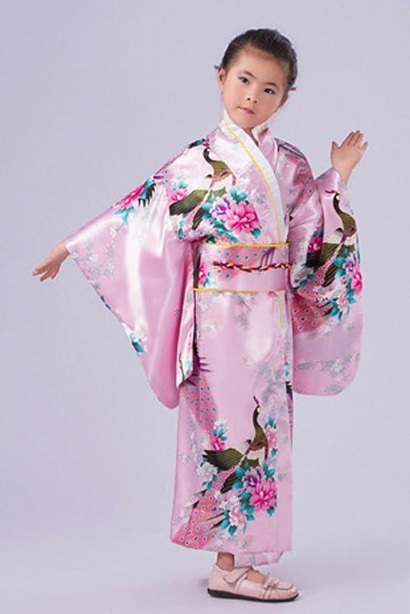 YL Niñas Patrón Floral Dibujo de Pavo Real Quimono Impreso Kimono ...
