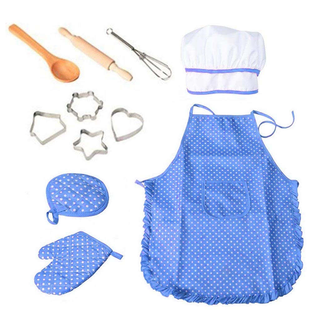11 Pcs Cooking and Baking Set with Apron for Boys, Chef Hat, Oven Mitt, and Other Cooking Utensils for Toddler Chef Career Role Play, Children Dress up Pretend Play, Great-Gift