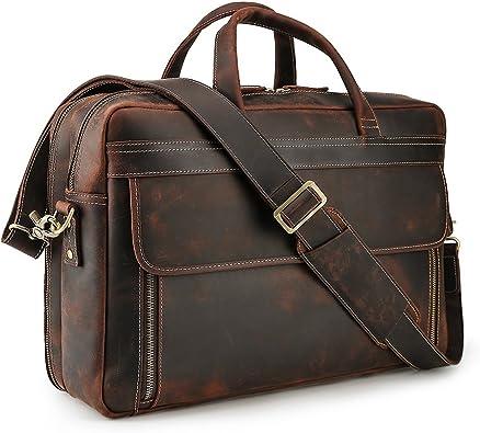 """Vintage Men Leather 17/"""" Laptop Briefcases Luggage Shoulder Bag Handbag Satchel"""