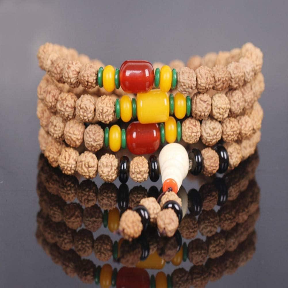 MLJSX Pulsera Collar de Rosario de Buda con Cuentas de Semillas de Bodhi Naturales Cuentas de meditación Budista 108