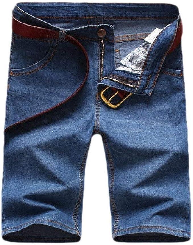 Nicellyer メンハイウエスト伸縮性ポケットソリッド薄いリラックスフィットデニムショートパンツ