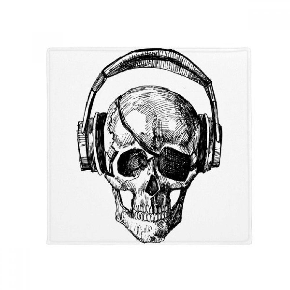 DIYthinker Skull Headset Music Crazy Pattern Anti-Slip Floor Pet Mat Square Home Kitchen Door 80Cm Gift